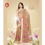 Khazana Light Coffee   Chiffon Saree With Unstitched Blouse