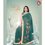 Khazana Light Green Chiffon Saree With Unstitched Blouse