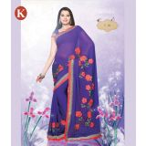 Khazana Purple And Pink Chiffon Saree With Unstitched Blouse