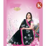 Khazana Black And Pink Chiffon Saree With Unstitched Blouse