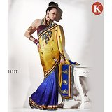 Khazana Yellow And Blue Georgette Saree With Unstitched Blouse