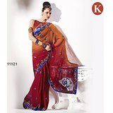 Khazana Maroon Rust Georgette Saree With Unstitched Blouse