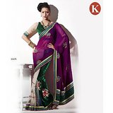 Khazana Purple And Green Net Saree With Unstitched Blouse