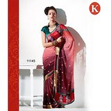 Khazana Red And Green Net Saree With Unstitched Blouse