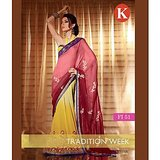 Khazana Red And Yellow Viscos Saree With Unstitched Blouse
