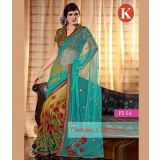 Khazana Light Green And Sky Blue Net Saree With Unstitched Blouse