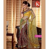 Khazana Yellow And Maroon Net Saree With Unstitched Blouse