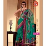 Khazana Green And Pink Net Saree With Unstitched Blouse