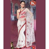 Khazana White And Red Net Saree With Unstitched Blouse