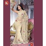 Khazana Light Cream Net Saree With Unstitched Blouse
