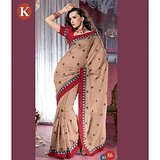 Khazana Cream And Red  Bhagalpuri Saree With Unstitched Blouse