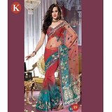 Khazana Red And Sky Blue Net Saree With Unstitched Blouse