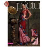 Khazana Red And Pink Jackard Saree With Unstitched Blouse
