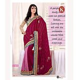 Khazana Pink And Maroon Viscos Saree With Unstitched Blouse