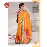 Khazana Light Yellow Viscos Saree With Unstitched Blouse