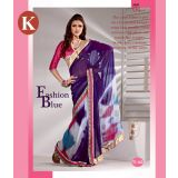 Khazana Dark Blue And White Viscos Saree With Unstitched Blouse