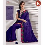 Khazana Dark Blue Jackard Saree With Unstitched Blouse