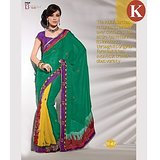 Khazana Green And Yellow Viscos Saree With Unstitched Blouse