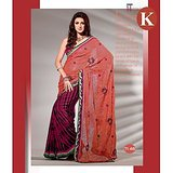 Khazana Light Pink And Violet Viscos Saree With Unstitched Blouse