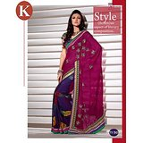 Khazana Light Pink And Blue Viscos Saree With Unstitched Blouse