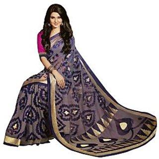 Bhavi Printed Kashida Silk Sari with Foil Print (BHVP12553)