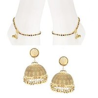 Gold Nera Big Jhumki Multi Payal Combo Alloy Jewel Set