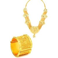 Gold Nera Goldenite Cuff & Necklace Combo Alloy Jewel Set