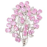 925 % Sterling Silver with Hallmarked & Faceted Cubic Zirconia Gemstone Brooch