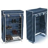 Adjustable 4 Tier Folding Shoe Rack With Cover