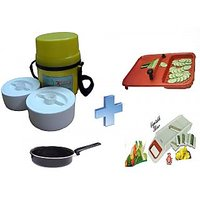 Kitchen Combo - Khana Khazana Microwoveable Lunch Box With 2 Food Grade Containers + Kitchen Ware Cut N Wash Board With Heavy Gauge Blade + 6 In 1 Vegetable Slicer + Fry Pan