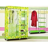 Foldable Double Canvas Wardrobe And Shoe Rack