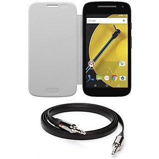 Ape Flip Cover For Motorola Moto-E 2Nd Gen With Aux Cable APE13