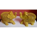 Set Of Two Wooden Elephants
