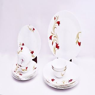 Larah 18 Pcs Dinner Set Fluted Red Lily