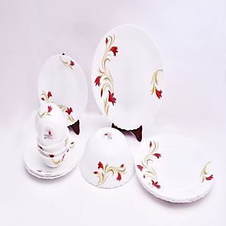 Larah 13 Pcs Dinner Set Fluted Red Lily