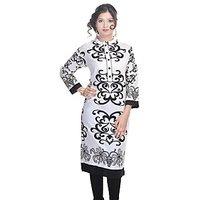 Shop Rajasthan White,Black Cotton Regular Kurti For Women