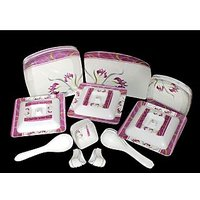 Geeta Diamond Sqaure 44 Pcs Melamine Dinner Set LE-GDS-006, Multicolor