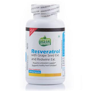 Vista Nutrition Resveratrol Grape Seed Ext Redwine Ext 120 Capsules