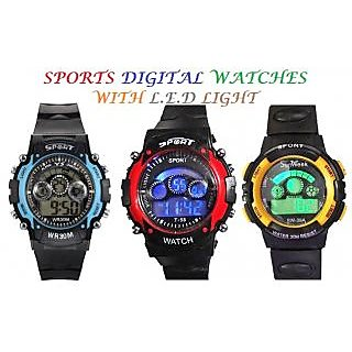 Sports Digital Watch With LED Light-1(Pcs)-(Assorted Colors)