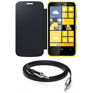 Ape Flip Cover For Nokia Lumia 620 With Aux Cable APE20