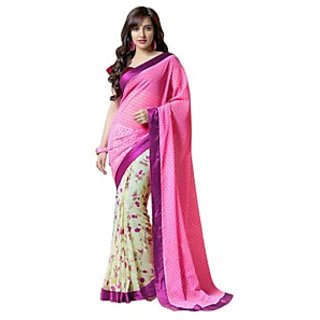 Bhavi Embellsihed Pink Faux Georgette Sari with Border (BHVP900)
