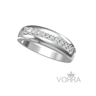Vorra Fashion 925 Silver Round CZ Rhodium Plated Beautiful Band Ring Size 9 - 18