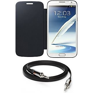 Ape Flip Cover For Samsung Note-2 7100 With Aux Cable APE24