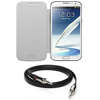 Ape Flip Cover For Samsung Note-2 7100 With Aux Cable APE23