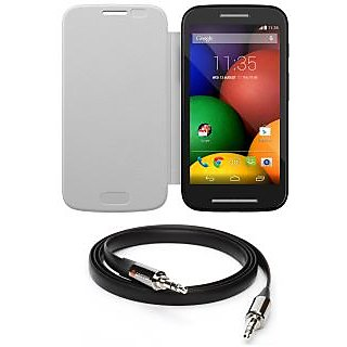 Ape Flip Cover For Motorola Moto E With Aux Cable APE18
