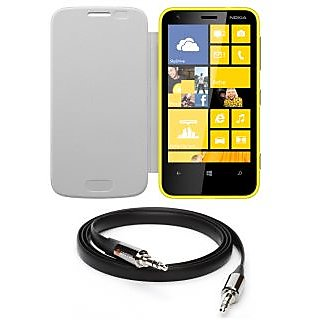 Ape Flip Cover For Nokia Lumia 620 With Aux Cable APE19