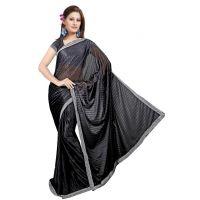 Stylish Lycra Silk Saree With Border Black