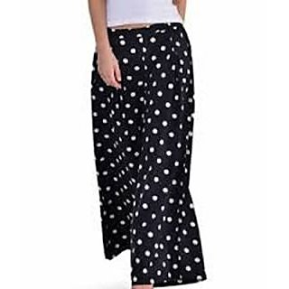 Raabta Fashion Black White Dotted Palazzo For Women