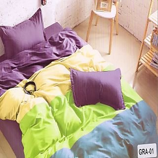 Valtellina Cotton Ultra-violet Double Bedsheet With 2 Pillow Cover (GRA-01)