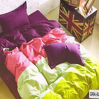 Valtellina Cotton Ultra-violet Double Bedsheet With 2 Pillow Cover (GRA-02)